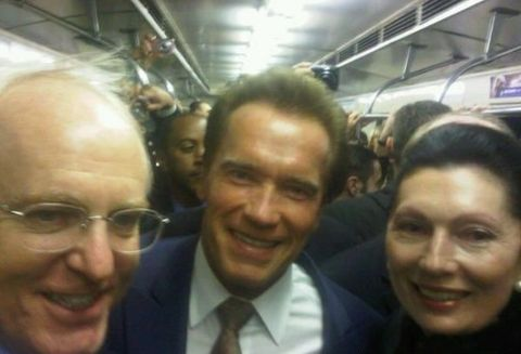 Arnold  Schwarzenegger in the Moscow metro